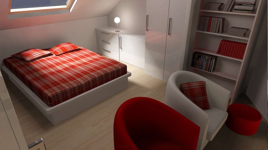 Dk3d espace 3d chambre mansard e - Agencement d une chambre ...