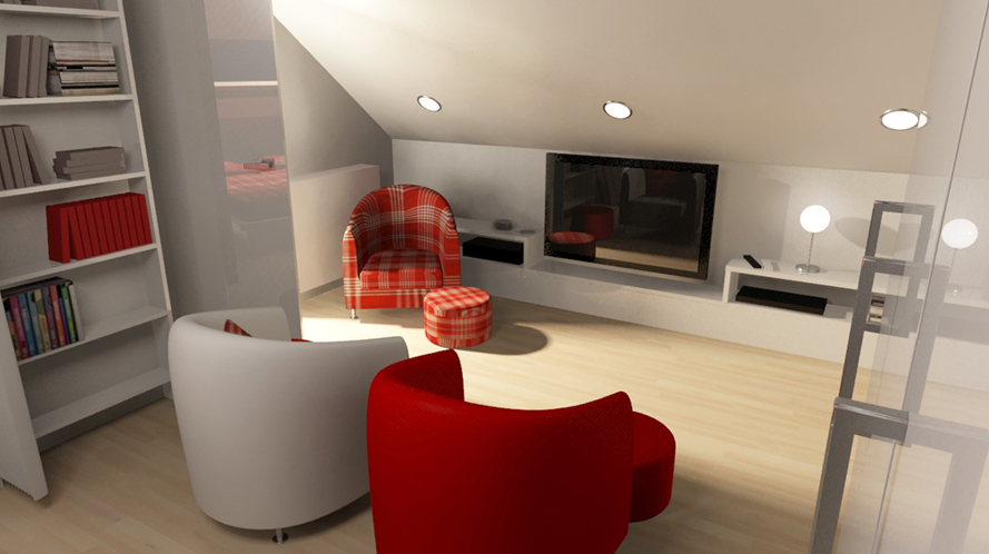 Dk3d espace 3d agencement mansarde architecture - Agencement d une chambre ...